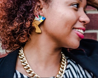 Colorful nefertiti studs