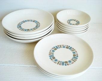 Vintage Canonsburg Pottery Temporama 11 Piece Plates /Serving Bowls