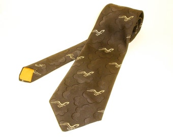1970s Wide Seagull Polyester Tie Mens Vintage Disco Era Polyester Necktie with Gull Bird and Cloud Designs by DAMON