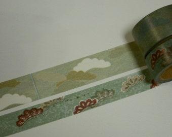 2 Rolls of Japanese Washi Tape- Traditional Japanese Cloud Motifs