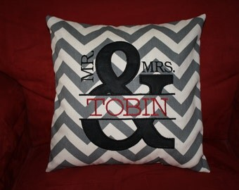 Mr. and Mrs. Ampersand Personalized Applique Pillow