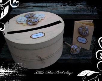 Peach wedding card box, peach guest book set, rustic wedding card box, rustic wedding, guest book, peach card box, peach guest book