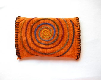 Orange Spiral~ Wool Clutch Purse