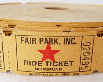 """Vintage Amusement Park Ride Tickets in Sets of 50 or 100 - Old """"Fair Park, Inc."""" Ride Ticket Lot - Yellow Tickets with Red Stars - Ephemera"""