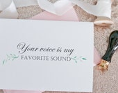 Your voice is my favorite sound - Handmade Card - Love Card - Husband Card - Wife Card- Anniversary Card- Wedding Day Card - Love