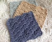 Crocheted Baby Washcloths, Baby Boy Washcloths, Blue Washcloths, Tan Washcloth, Baby Shower Gift, Baby Bath Time, Crocheted Cotton Cloths