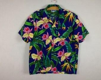 tropical button up shirt size XL