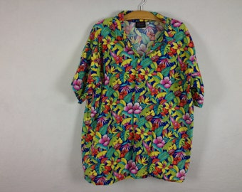 90s tropical button up size XL