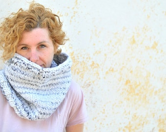 Oversized neckawarmer, white and grey ombré cowl, chunky knit snood