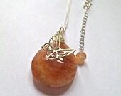 Sunstone necklace  sterling silver, layer necklace, boho, butterfly,large sunstone pendant