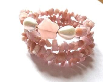 pink kunzite stack bracelet, gemstone memory wire bracelet