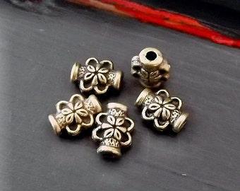 Floral Antique Brass Metal Bead - Destash Beads - Boho Hippie Gypsy Brass Bead - Destash Supplies - Pkg. 5