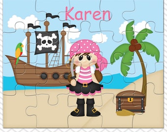 Pirate Girl Personalized Puzzle, Personalized Pirate Girl Puzzle, Personalized Kids Puzzle