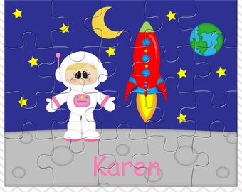 Space Astronaut Girl Personalized Puzzle, Personalized Astronaut Puzzle, Personalized Kids Puzzle