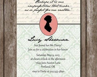 Jane Austen Bridal Shower Invitation//Printable//Customizable//Digital File