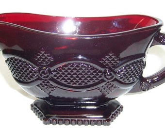 Avon Ruby Red 1876 CAPE COD Sauce Boat or Gravy Boat