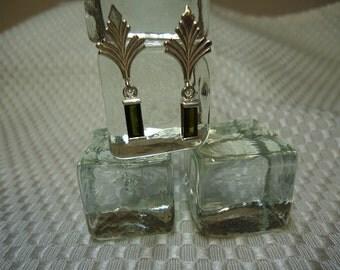 Baguette Tourmaline Dangle Earrings in Sterling Silver