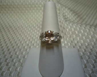 Morganite and Zircon Three Stone Ring in Sterling Silver   #1481