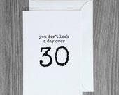 30th birthday card, Funny birthday card, over 30 birthday, getting older card, happy birthday card