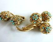 Ciner 1960's Vintage Brooch and Earrings Set - Collectable Jewellery - Exotic Statement - Gold ,Turquoise glass beads and crystals