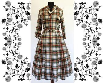 1950's Vintage Deadstock NOS Flannel Wool Dress