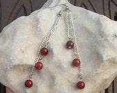 Red Agate Earrings on Fine Chain