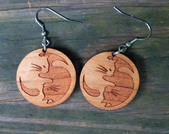 Yin Yang Cat Earrings