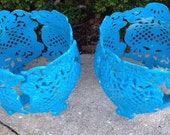 SOLD DEANNE Garden Planters Pair Chippy Painted Blue Cottage Vintage English Garden