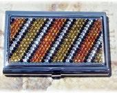 Silver Metal FREE SHIPPING Preciosa Rhinestone Crystal Bling Black White Orange Brown Animal Print Striped Business Card Case Holder