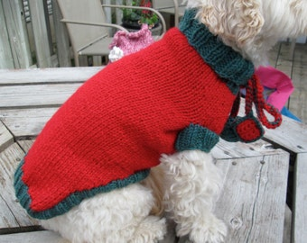 Custom Knit Dog Christmas Sweater or Dress - SMALL