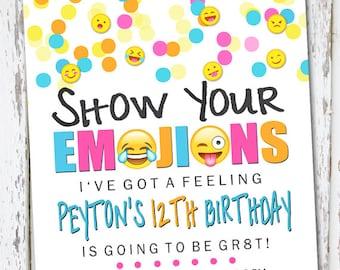 Emoji Invite, emoji invite, emoji invitation, emoji birthday invite, emoticon invite, texting invite