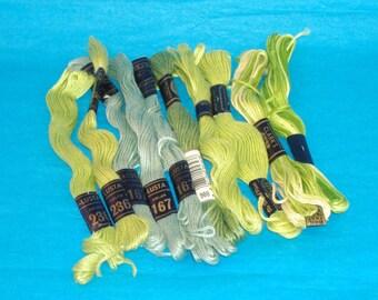 Assorted Light Greens and Variegated Greens Embroidery Floss Thread - DMC, Peri-Lusta, JP Coats, Clarks - 10 Skeins - Brand New - Destash