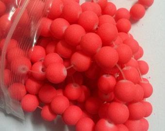 "Bulk Beads Rubberized Glass Beads Neon Beads 8mm Wholesale Beads 420 pieces 4 strands 32"" Each- NEON DARK ORANGE"