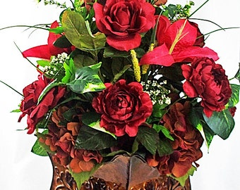 Christmas red flower arrangement, Red silk floral arrangements, Red wedding centerpiece, Red artificial flowers Red silk flowers