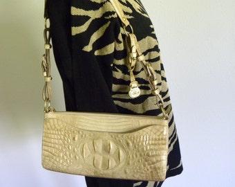Brahmin Gold Leather Alligator Embossed Purse, Like New Brahmin Handbag, Gold Leather Purse