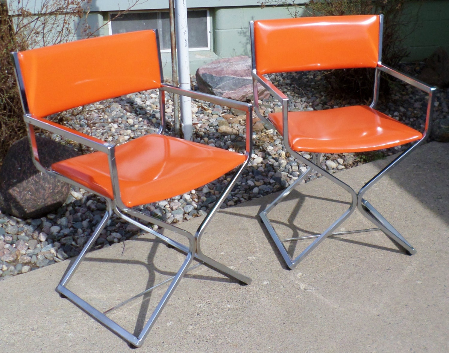 Vintage Director S Chairs Chrome And Orange Vinyl Made