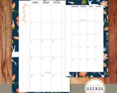 Personal Size 2016 Monthly Planner Inserts // Floral, Woodland, Geometric // Agenda, Kikki K, Filofax, Printable // Calendar