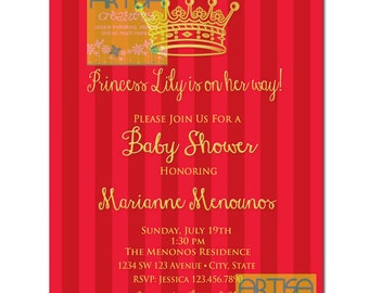 Gold Red Princess Baby Shower Invitation DIY, Princess Crown Red Gold Baby Shower Invitation, Red Gold Princess invitation, Red Gold Invite