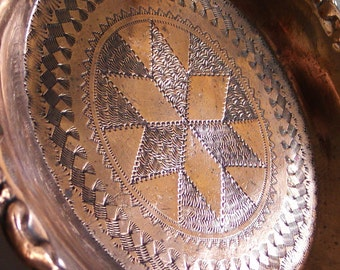 Vintage copper plate, hand ETCHED geometric pattern. EMBOSSED rim, handmade floral etching, folk art, home decor, saucer dish, mini, crafts