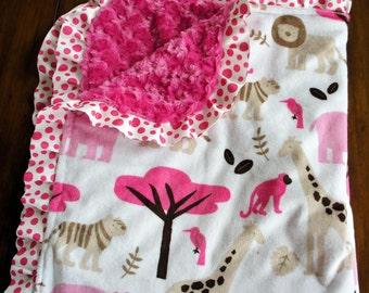 Minky Baby Blanket - Fuchsia Jungle Tales - Hot Pink Polka Dot Satin Trim