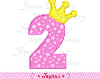 Instant Download Number 2 with Crown Applique Machine Embroidery Design NO:1410