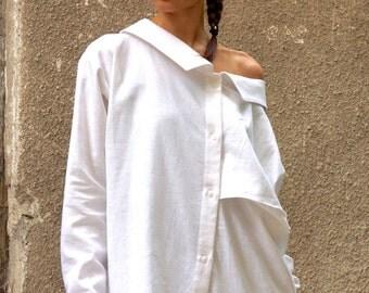 NEW COLLECTION White Linen Shirt / Extravagant Shirt / Asymmetrical shirt / Oversize Summer Top by Aakasha A11142