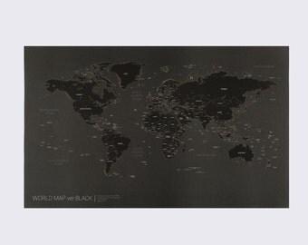 New Black World Map Poster