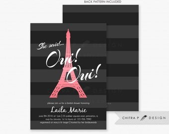 Black Paris Bridal Shower Invitations - Printed, Pink French Couples Engagement Parisian Eiffel Tower Striped Brunch White Grey - #035