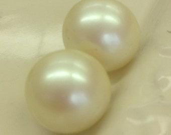 "Vintage Pearl Button pierced earrings about 1/2-3/4"""