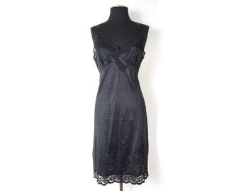 1980s black nylon slip with lace trim and applique - Small Medium - vegan