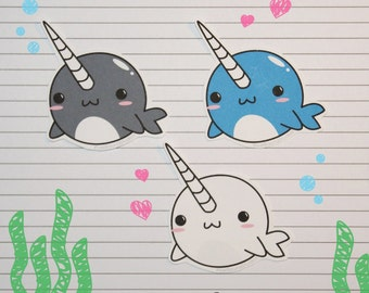 Chibi Narwhal Stickers and Magnets