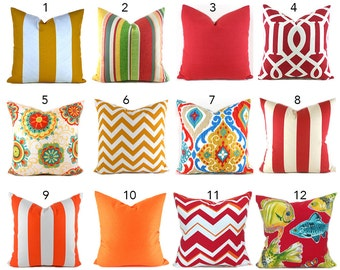 Outdoor Pillows Outdoor Pillow Covers Decorative Pillows ANY SIZE Pillow Cover Red Pillows Orange You Choose