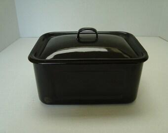 Vintage Black Enamel Refrigerator Box