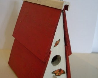 Vintage Hand Made Birdhouse in Red